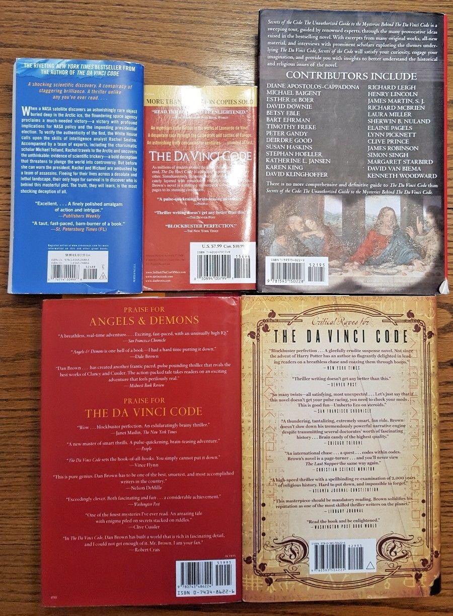 5 Dan Brown Books Da Vinci Code Lost Symbol Angels Demons 2